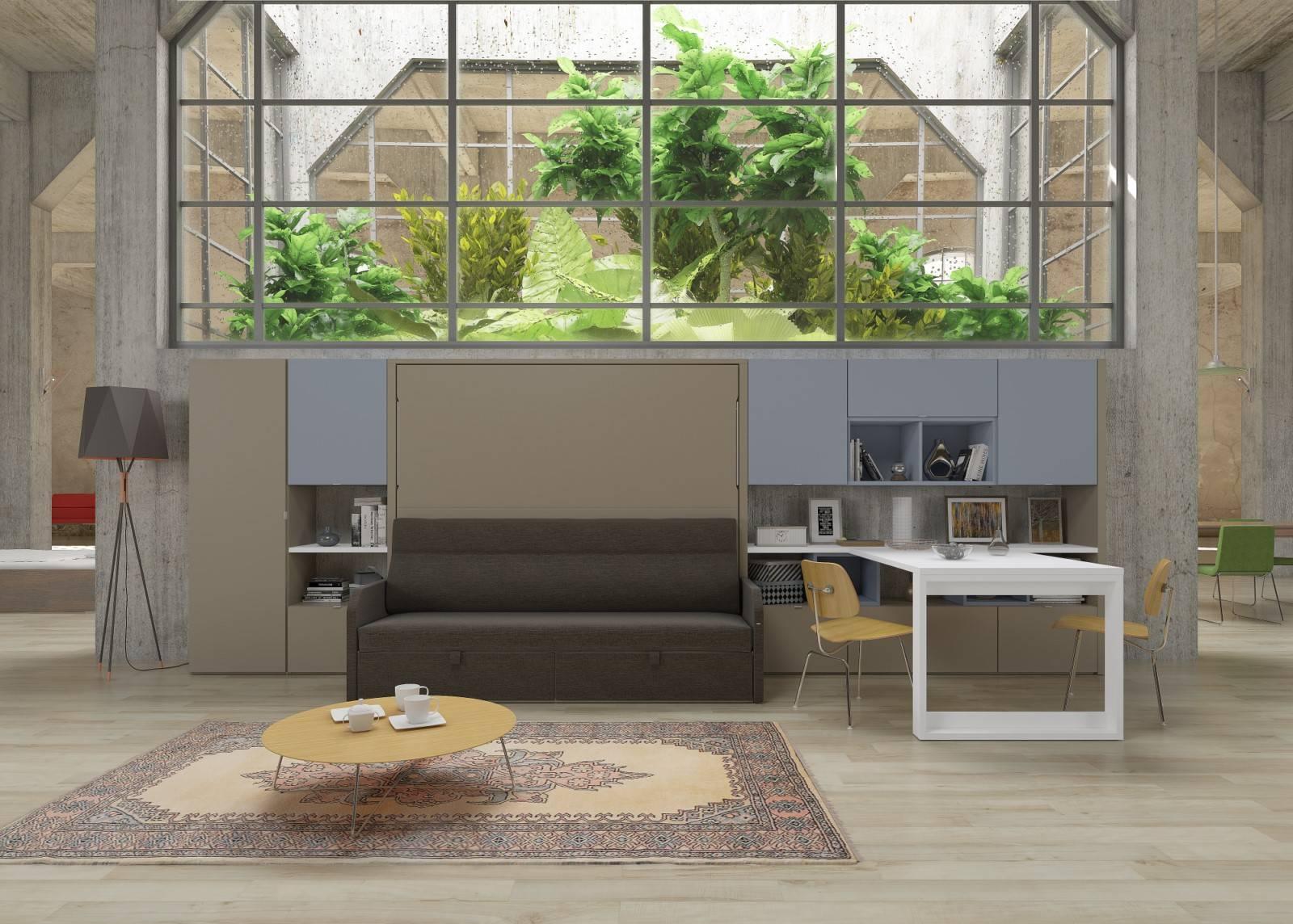 lit escamotable avec canap hy res compact horizontal auto. Black Bedroom Furniture Sets. Home Design Ideas