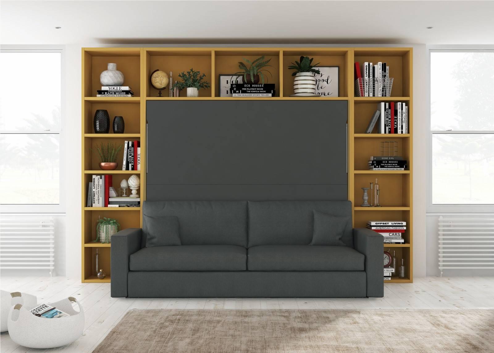 Armoire Gain De Place lit escamotable horizontal avec canapÉ intégré modèle