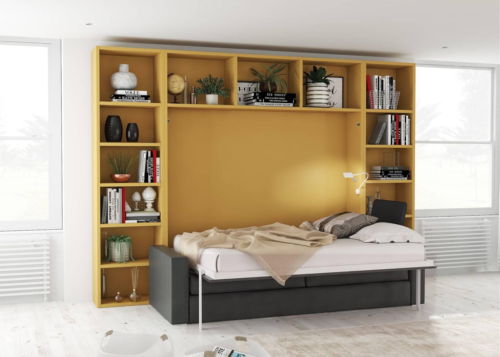 lit escamotable horizontal avec canap int gr mod le. Black Bedroom Furniture Sets. Home Design Ideas