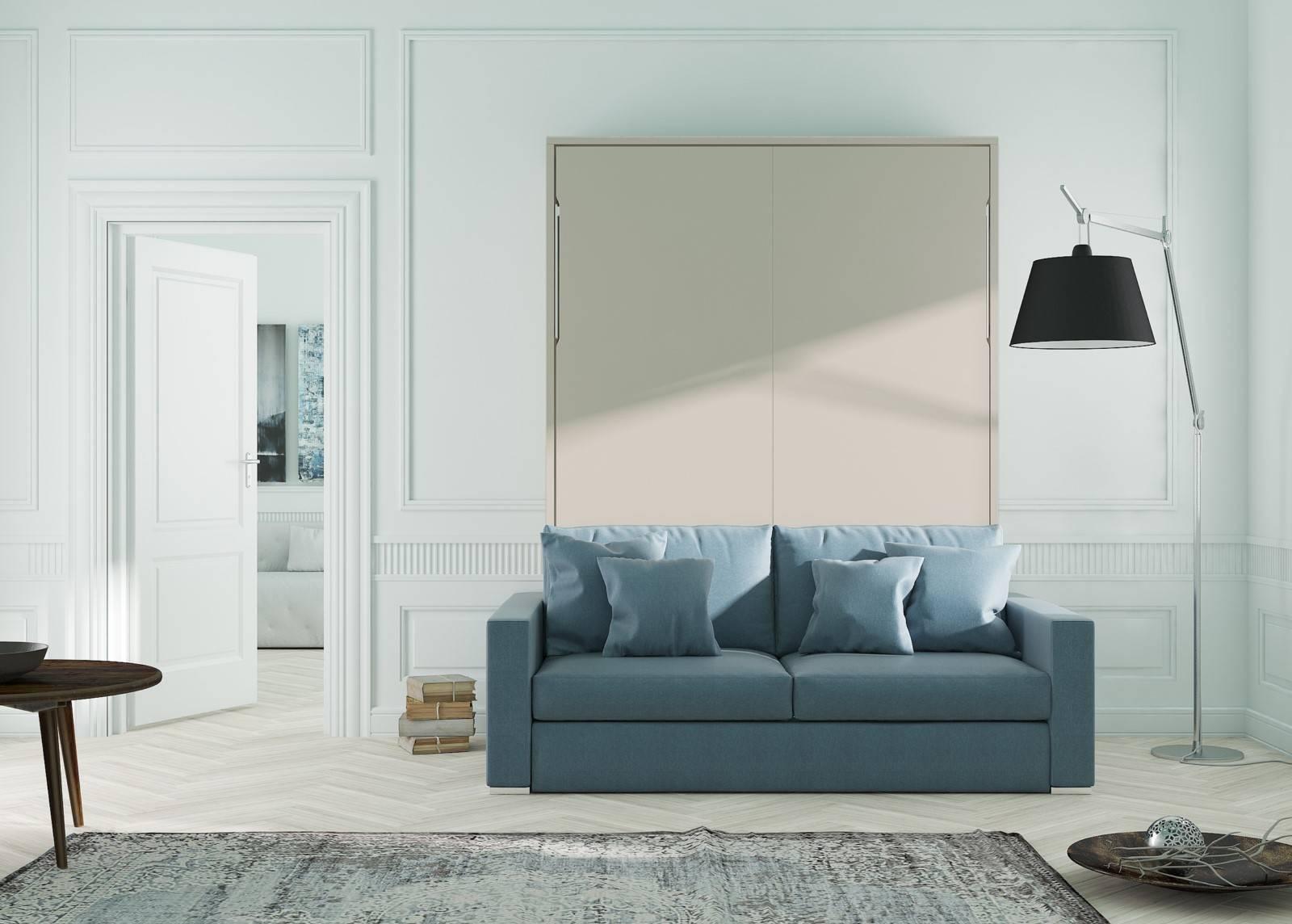 lit escamotable vertical avec canap int gr mod le aix. Black Bedroom Furniture Sets. Home Design Ideas
