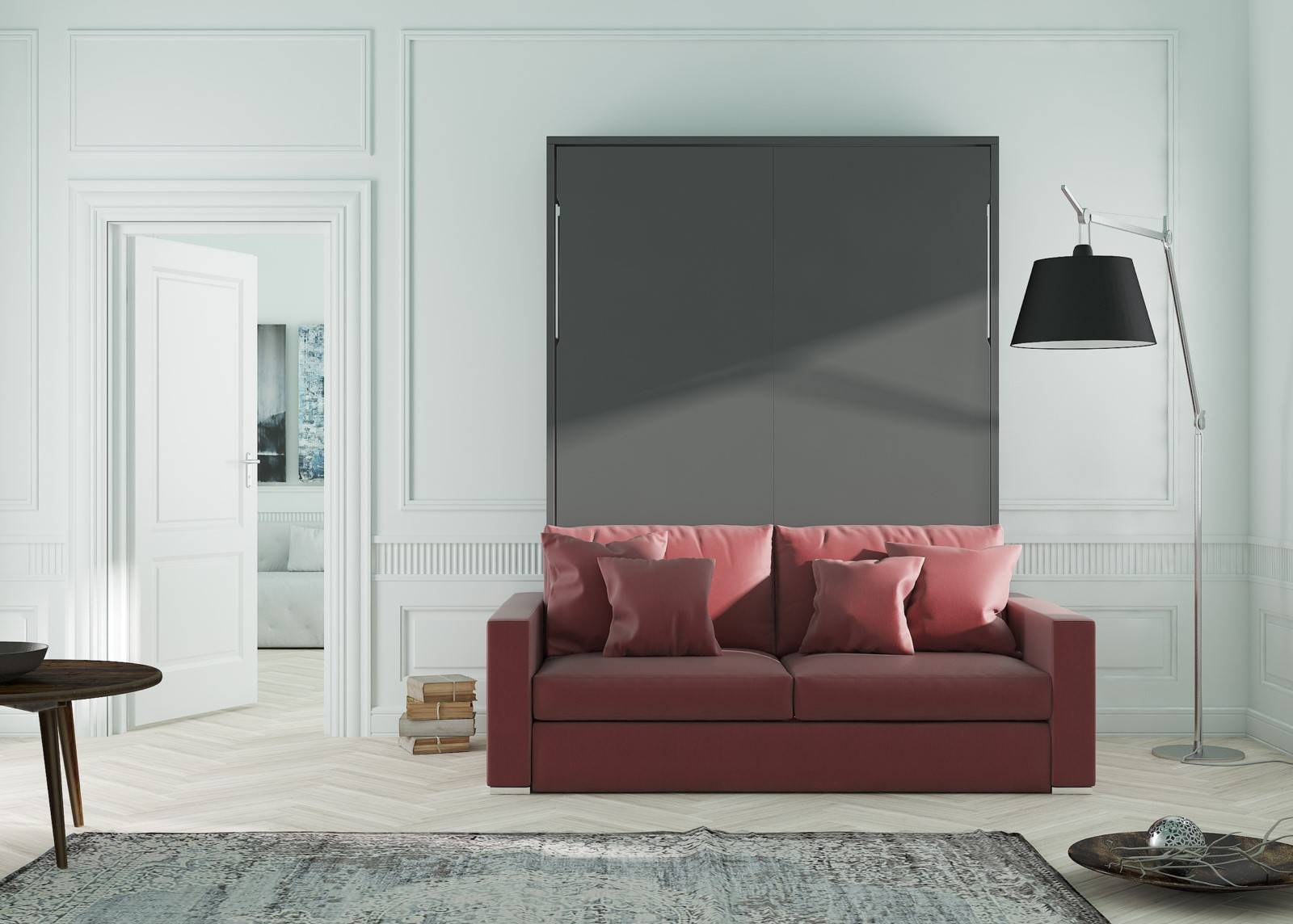 lit escamotable vertical avec canap int gr mod le aix meuble avec 2 usages tr s confortables. Black Bedroom Furniture Sets. Home Design Ideas