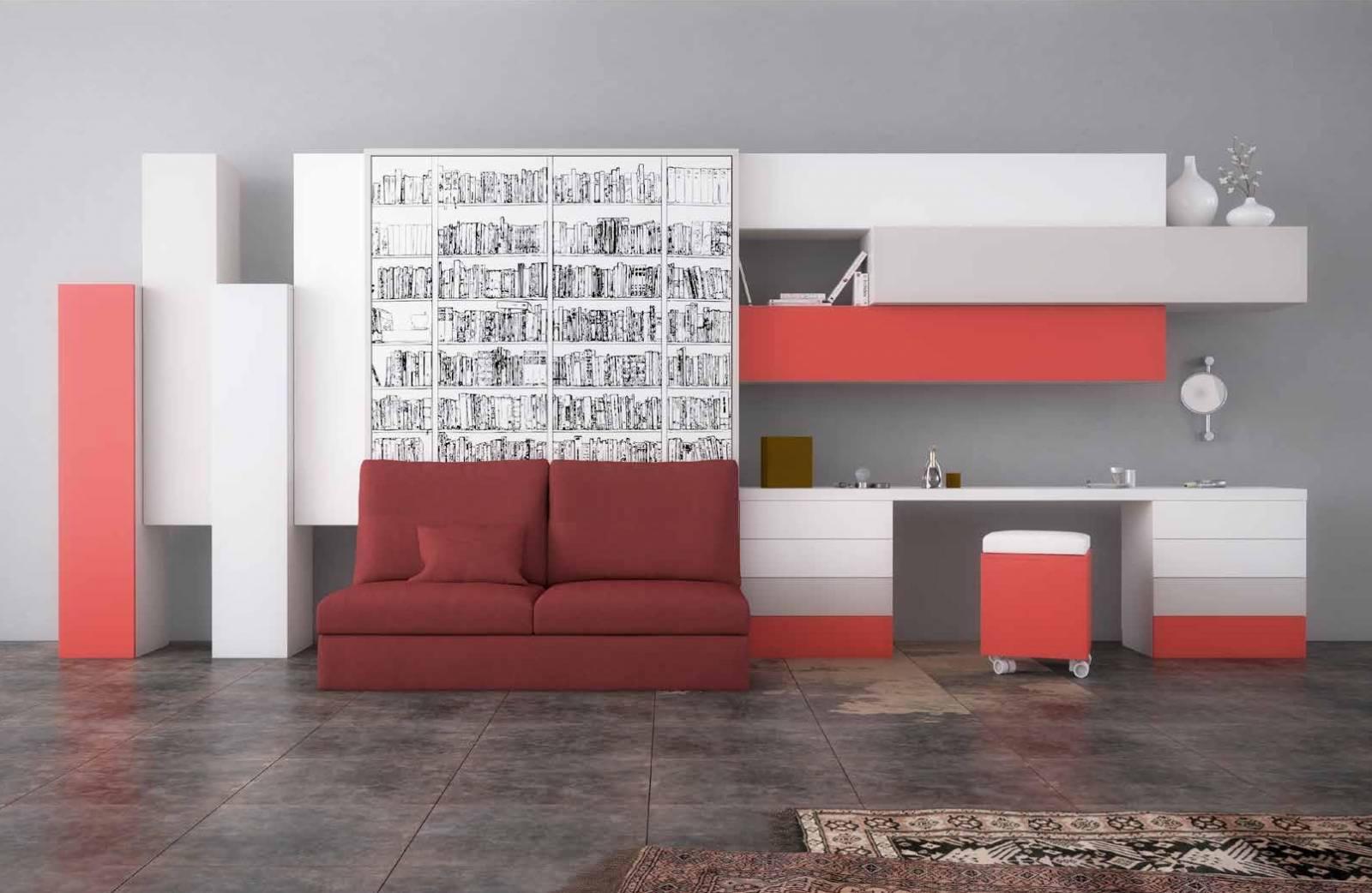 lit escamotable vertical avec canap int gr grau du roi. Black Bedroom Furniture Sets. Home Design Ideas