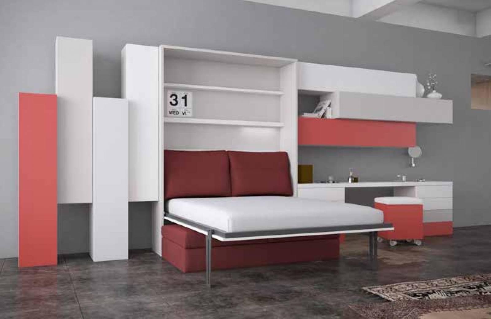 Tv Escamotable Lit lit escamotable vertical avec canapé intégré grau du roi