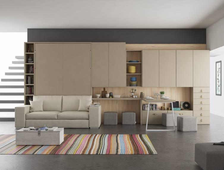 Lit escamotable vertical avec canap int gr mod le digne meuble moderne fonctionnel et tr s - Canape tres confortable ...